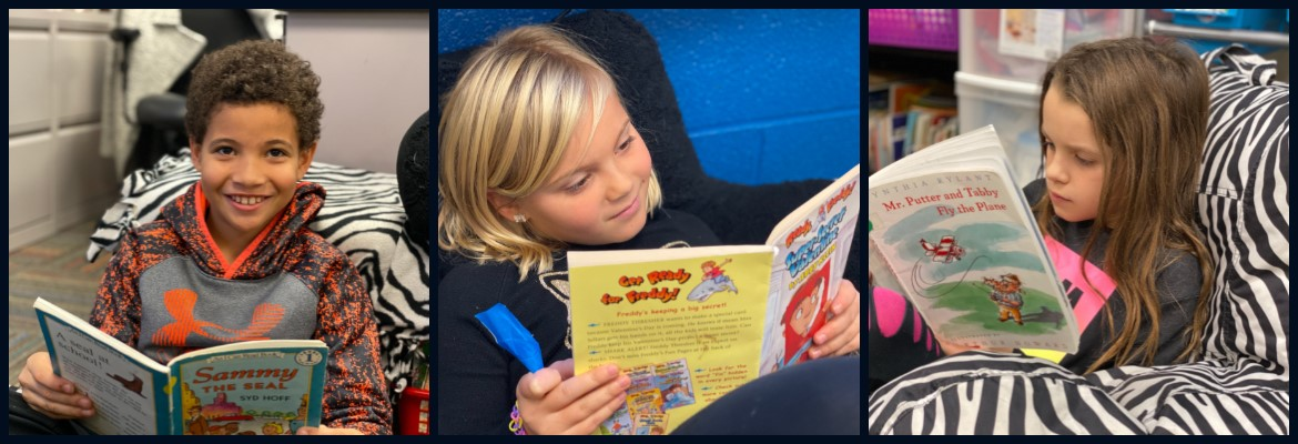 Photo collage, three pics of students reading books.