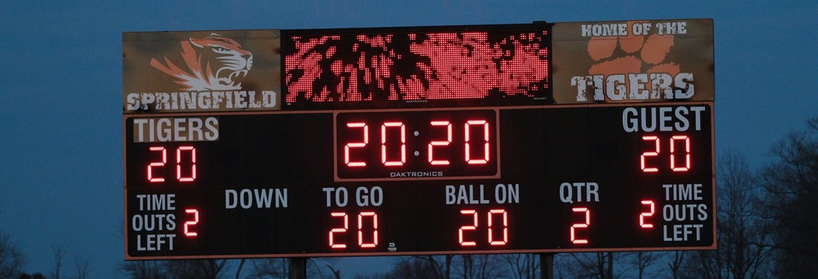 Score board with lights on, recognizing the Class of 2020